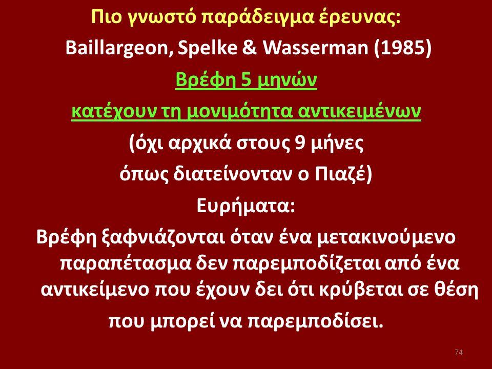 Πιο γνωστό παράδειγμα έρευνας: Baillargeon, Spelke & Wasserman (1985) Bρέφη 5 μηνών κατέχουν τη μονιμότητα αντικειμένων (όχι αρχικά στους 9 μήνες όπως