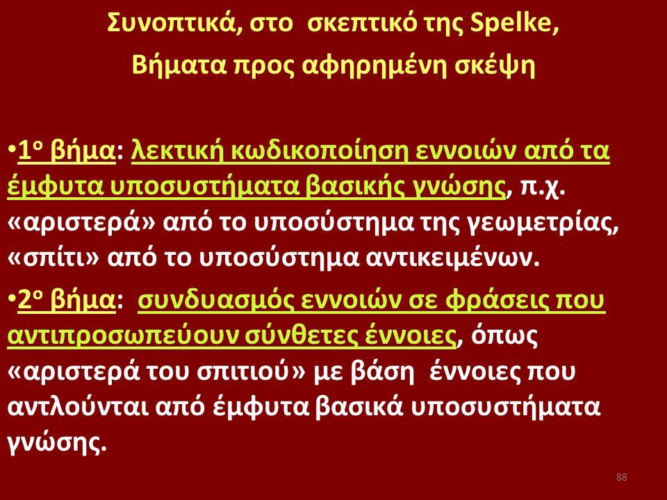 88 Συνοπτικά, στο σκεπτικό της Spelke, Βήματα προς αφηρημένη σκέψη 1 ο βήμα: λεκτική κωδικοποίηση εννοιών από τα έμφυτα υποσυστήματα βασικής γνώσης, π.χ.