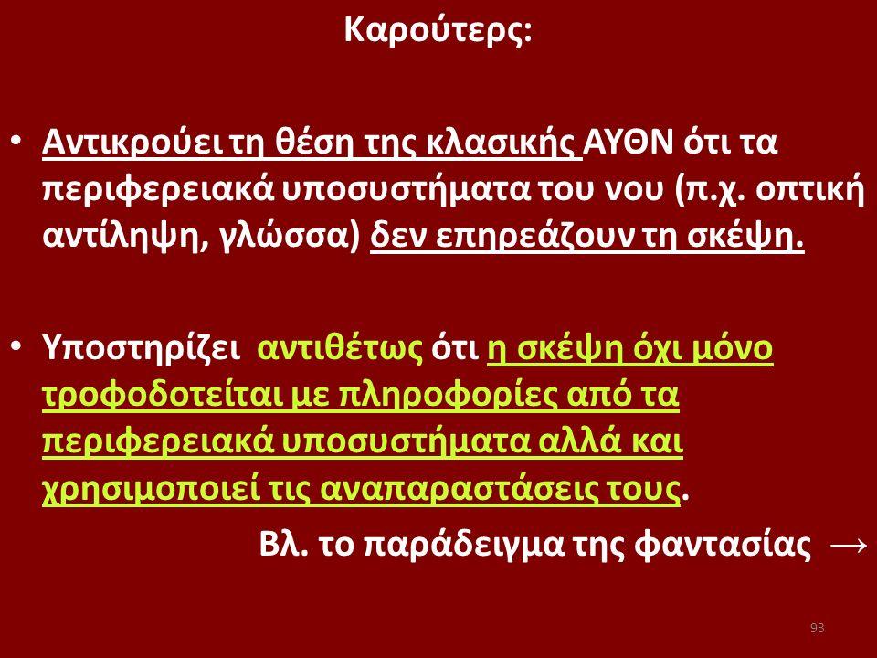 93 Kαρούτερς: Αντικρούει τη θέση της κλασικής ΑΥΘΝ ότι τα περιφερειακά υποσυστήματα του νου (π.χ. οπτική αντίληψη, γλώσσα) δεν επηρεάζουν τη σκέψη. Υπ
