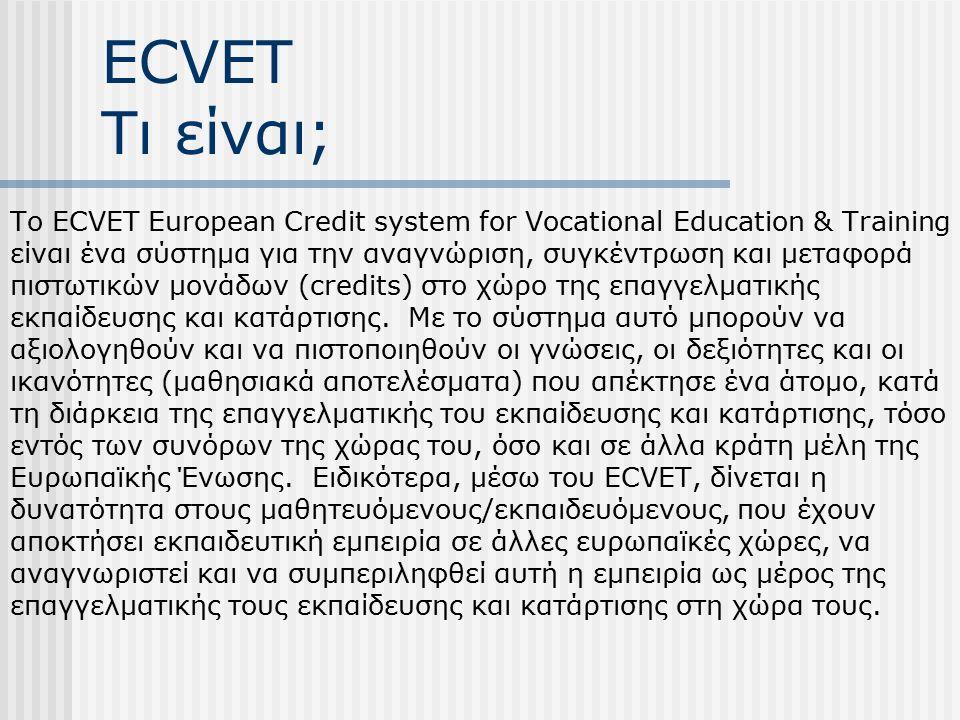 ECVET Τι είναι; Το ECVET European Credit system for Vocational Education & Training είναι ένα σύστημα για την αναγνώριση, συγκέντρωση και μεταφορά πιστωτικών μονάδων (credits) στο χώρο της επαγγελματικής εκπαίδευσης και κατάρτισης.