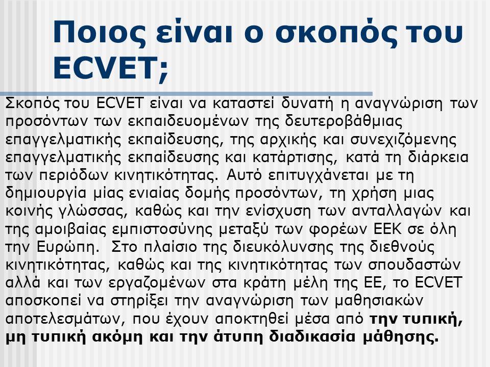 Ποιος είναι ο σκοπός του ECVET; Σκοπός του ECVET είναι να καταστεί δυνατή η αναγνώριση των προσόντων των εκπαιδευομένων της δευτεροβάθμιας επαγγελματικής εκπαίδευσης, της αρχικής και συνεχιζόμενης επαγγελματικής εκπαίδευσης και κατάρτισης, κατά τη διάρκεια των περιόδων κινητικότητας.