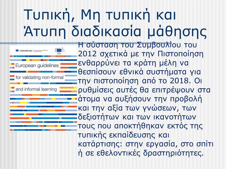 Τυπική, Μη τυπική και Άτυπη διαδικασία μάθησης Η σύσταση του Συμβουλίου του 2012 σχετικά με την Πιστοποίηση ενθαρρύνει τα κράτη μέλη να θεσπίσουν εθνικά συστήματα για την πιστοποίηση από το 2018.
