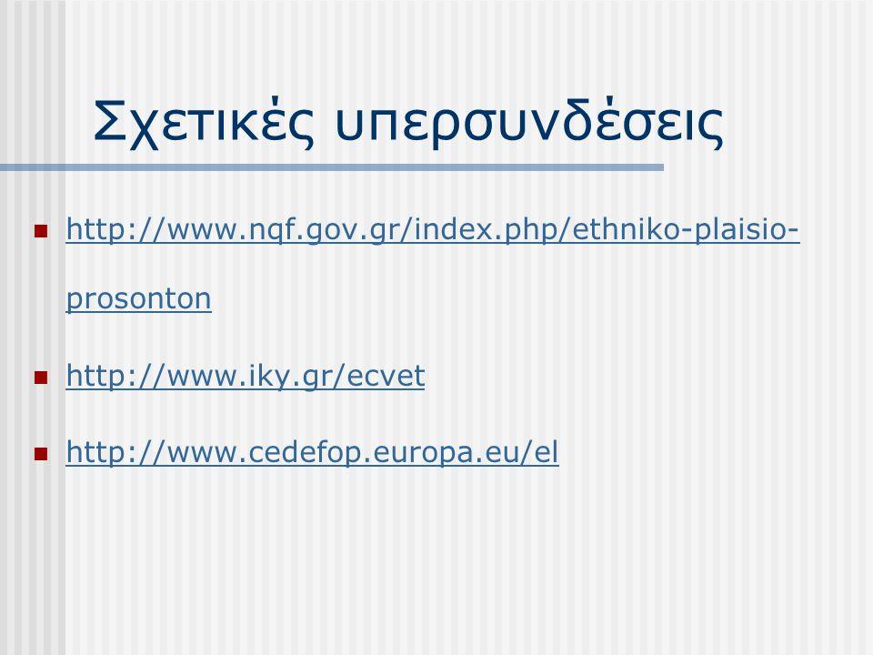 Σχετικές υπερσυνδέσεις http://www.nqf.gov.gr/index.php/ethniko-plaisio- prosonton http://www.nqf.gov.gr/index.php/ethniko-plaisio- prosonton http://www.iky.gr/ecvet http://www.cedefop.europa.eu/el