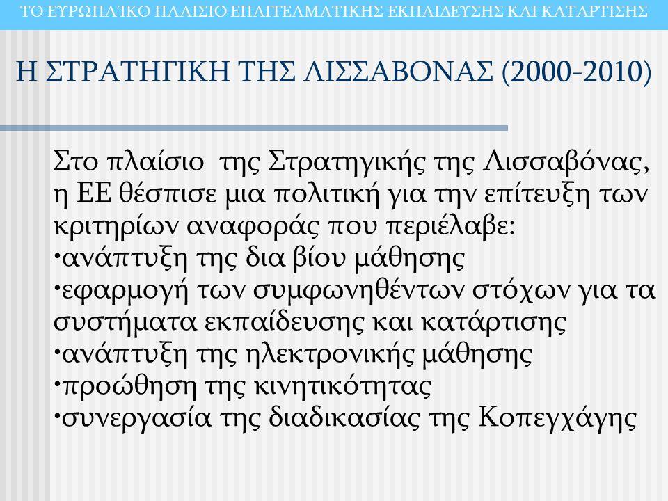 Η ΣΤΡΑΤΗΓΙΚΗ ΤΗΣ ΛΙΣΣΑΒΟΝΑΣ (2000-2010) ΤΟ ΕΥΡΩΠΑΊΚΟ ΠΛΑΙΣΙΟ ΕΠΑΓΓΕΛΜΑΤΙΚΗΣ ΕΚΠΑΙΔΕΥΣΗΣ ΚΑΙ ΚΑΤΑΡΤΙΣΗΣ Στο πλαίσιο της Στρατηγικής της Λισσαβόνας, η ΕΕ θέσπισε μια πολιτική για την επίτευξη των κριτηρίων αναφοράς που περιέλαβε: ανάπτυξη της δια βίου μάθησης εφαρμογή των συμφωνηθέντων στόχων για τα συστήματα εκπαίδευσης και κατάρτισης ανάπτυξη της ηλεκτρονικής μάθησης προώθηση της κινητικότητας συνεργασία της διαδικασίας της Κοπεγχάγης