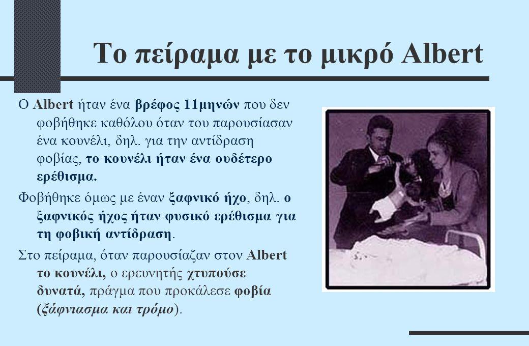 To πείραμα με το μικρό Albert O Albert ήταν ένα βρέφος 11μηνών που δεν φοβήθηκε καθόλου όταν του παρουσίασαν ένα κουνέλι, δηλ. για την αντίδραση φοβία