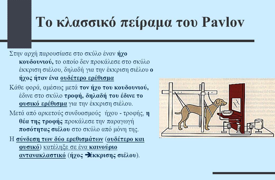 Το κλασσικό πείραμα του Pavlov Στην αρχή παρουσίασε στο σκύλο έναν ήχο κουδουνιού, το οποίο δεν προκάλεσε στο σκύλο έκκριση σιέλου, δηλαδή για την έκκριση σιέλου ο ήχος ήταν ένα ουδέτερο ερέθισμα Κάθε φορά, αμέσως μετά τον ήχο του κουδουνιού, έδινε στο σκύλο τροφή, δηλαδή του έδινε το φυσικό ερέθισμα για την έκκριση σιέλου.