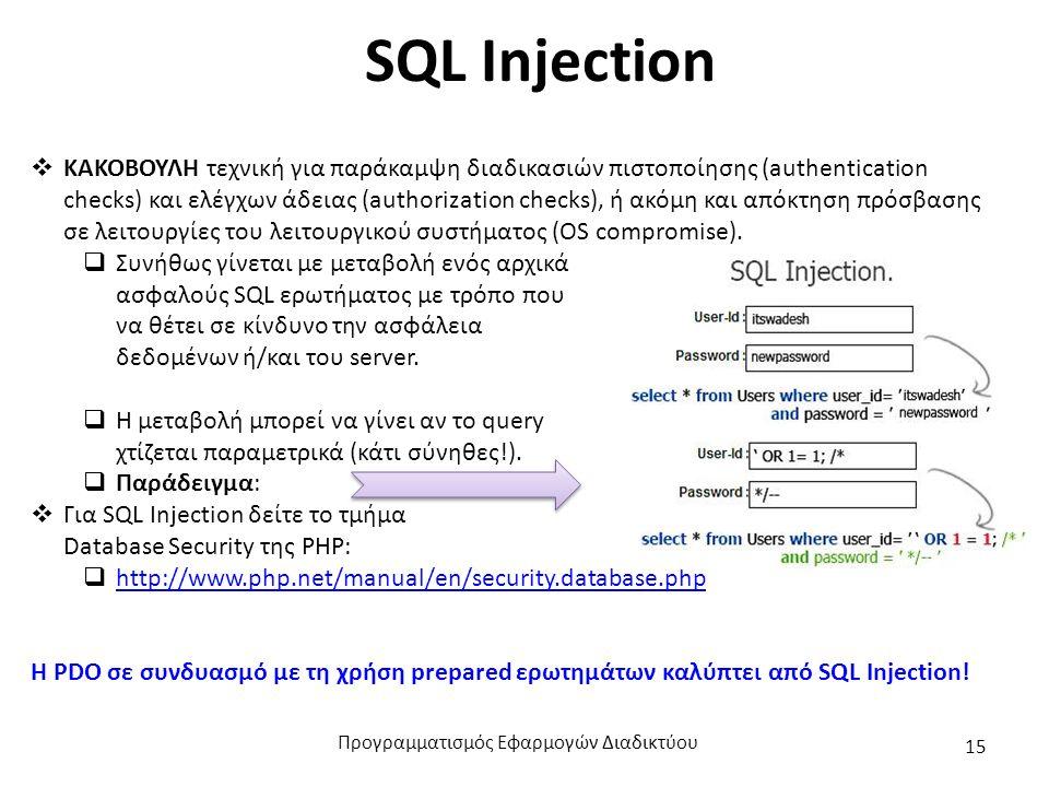SQL Injection  ΚΑΚΟΒΟΥΛΗ τεχνική για παράκαμψη διαδικασιών πιστοποίησης (authentication checks) και ελέγχων άδειας (authorization checks), ή ακόμη κα