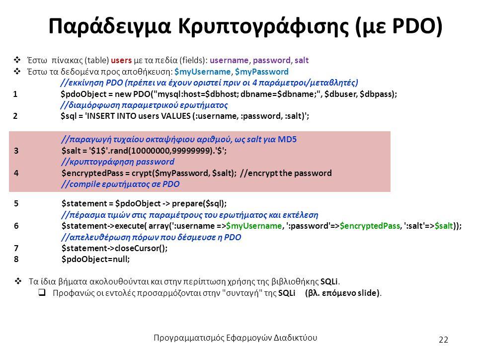 Παράδειγμα Κρυπτογράφισης (με PDO)  Έστω πίνακας (table) users με τα πεδία (fields): username, password, salt  Έστω τα δεδομένα προς αποθήκευση: $my