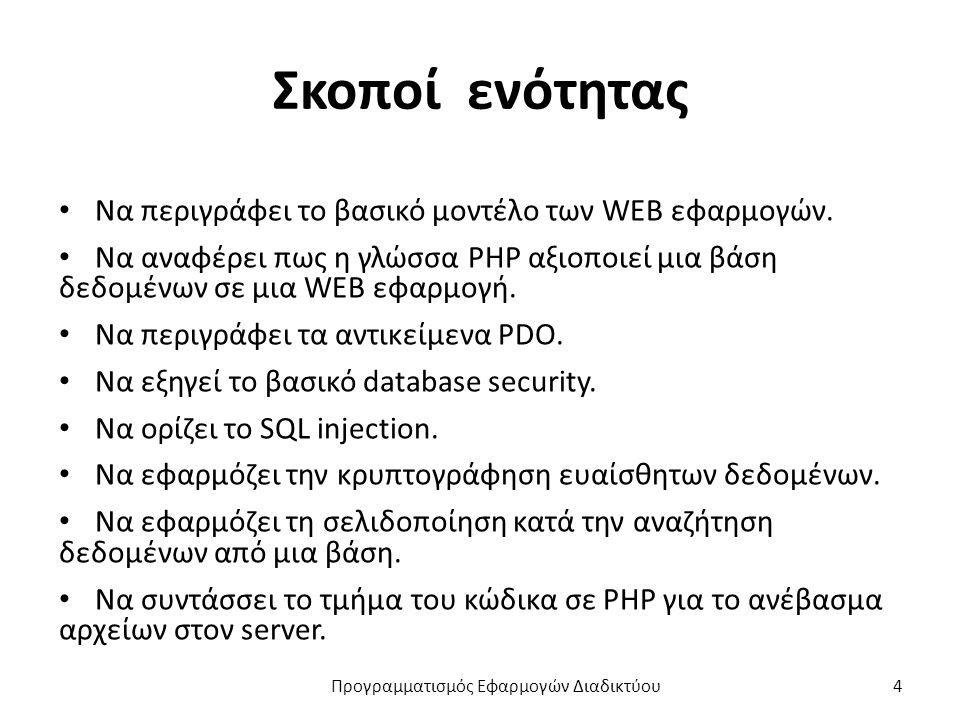 Σκοποί ενότητας Να περιγράφει το βασικό μοντέλο των WEB εφαρμογών. Να αναφέρει πως η γλώσσα PHP αξιοποιεί μια βάση δεδομένων σε μια WEB εφαρμογή. Να π