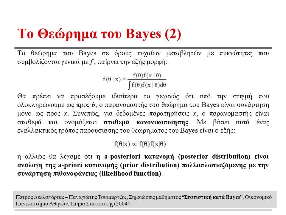 Το Θεώρημα του Bayes (2) Το θεώρημα του Bayes σε όρους τυχαίων μεταβλητών με πυκνότητες που συμβολίζονται γενικά με f, παίρνει την εξής μορφή: Θα πρέπει να προσέξουμε ιδιαίτερα το γεγονός ότι από την στιγμή που ολοκληρώνουμε ως προς θ, ο παρανομαστής στο θεώρημα του Bayes είναι συνάρτηση μόνο ως προς x.