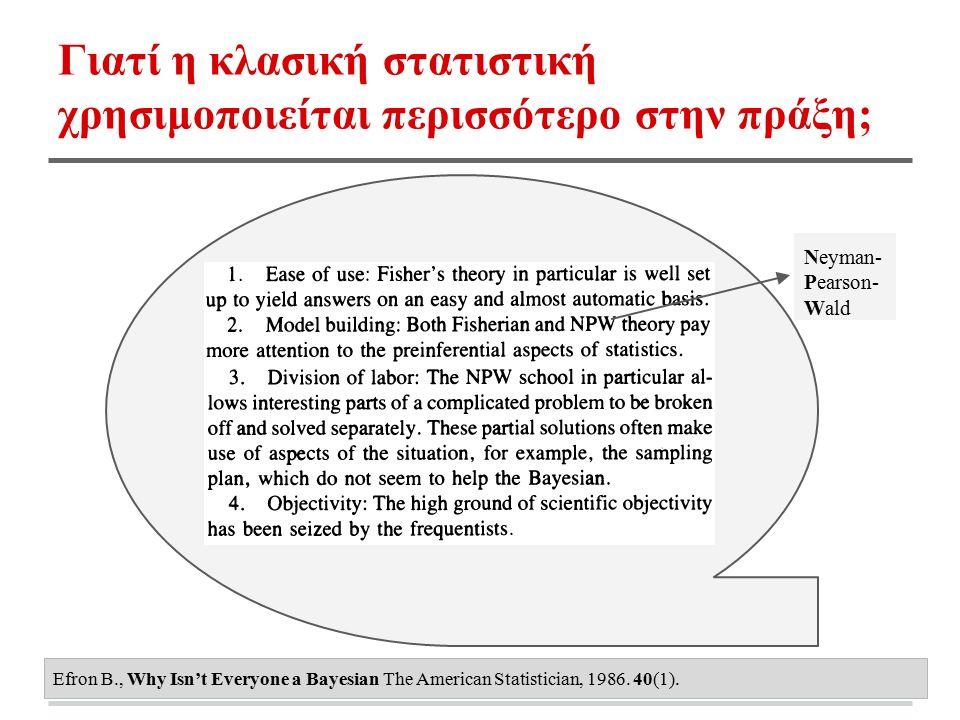 Γιατί η κλασική στατιστική χρησιμοποιείται περισσότερο στην πράξη; Efron B., Why Isn't Everyone a Bayesian The American Statistician, 1986. 40(1). Ney