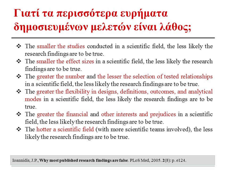 Γιατί τα περισσότερα ευρήματα δημοσιευμένων μελετών είναι λάθος; ❖ The smaller the studies conducted in a scientific field, the less likely the research findings are to be true.