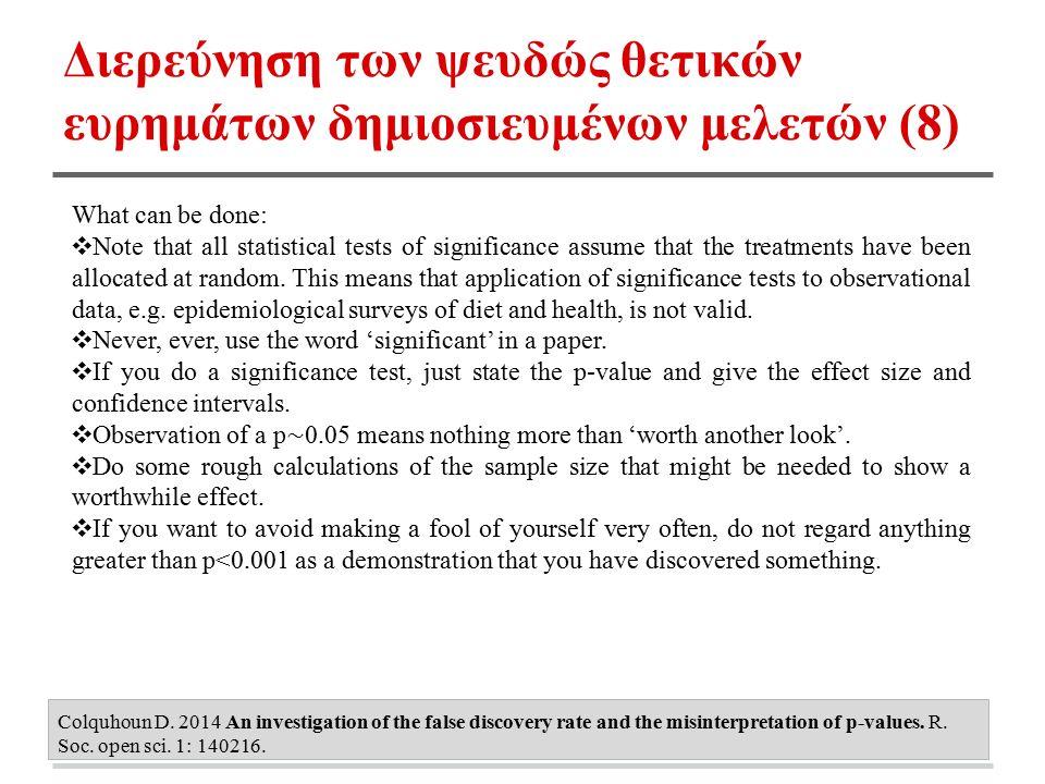 Διερεύνηση των ψευδώς θετικών ευρημάτων δημιοσιευμένων μελετών (8) Colquhoun D. 2014 An investigation of the false discovery rate and the misinterpret