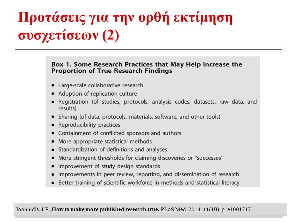 Προτάσεις για την ορθή εκτίμηση συσχετίσεων (2) Ioannidis, J.P., How to make more published research true. PLoS Med, 2014. 11(10): p. e1001747.