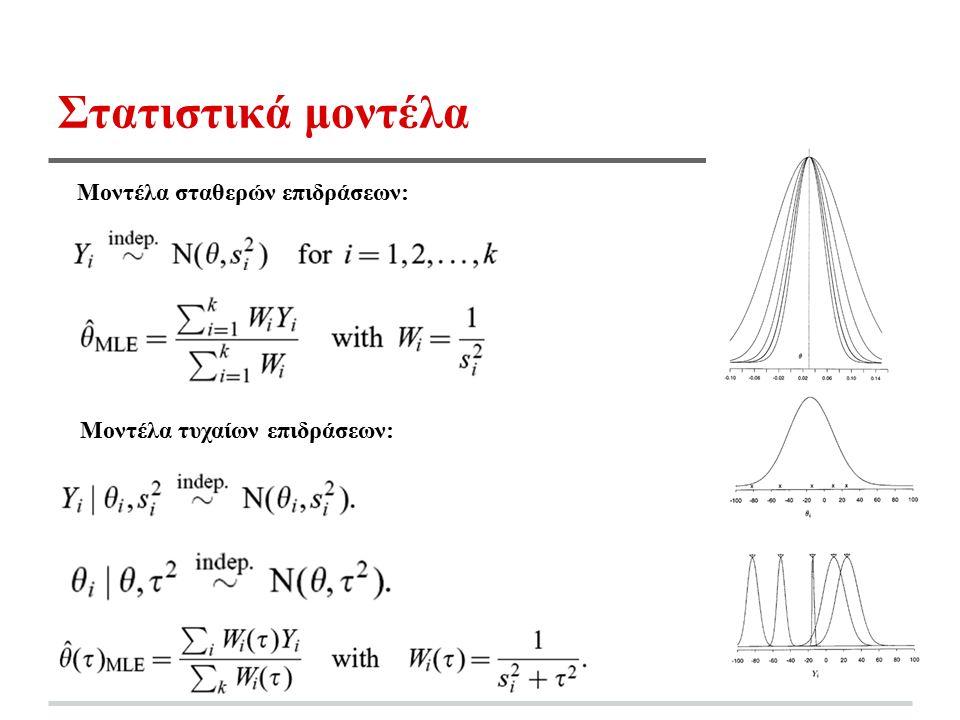 Στατιστικά μοντέλα Μοντέλα σταθερών επιδράσεων: Μοντέλα τυχαίων επιδράσεων: