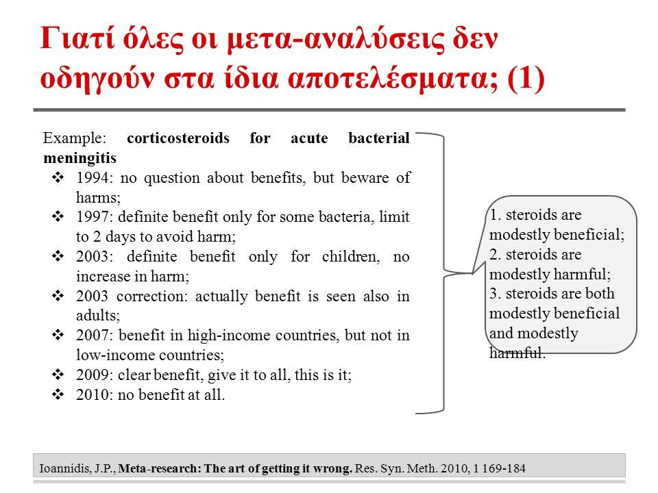 Γιατί όλες οι μετα-αναλύσεις δεν οδηγούν στα ίδια αποτελέσματα; (1) Ioannidis, J.P., Meta-research: The art of getting it wrong. Res. Syn. Meth. 2010,