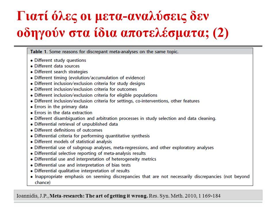 Γιατί όλες οι μετα-αναλύσεις δεν οδηγούν στα ίδια αποτελέσματα; (2) Ioannidis, J.P., Meta-research: The art of getting it wrong. Res. Syn. Meth. 2010,