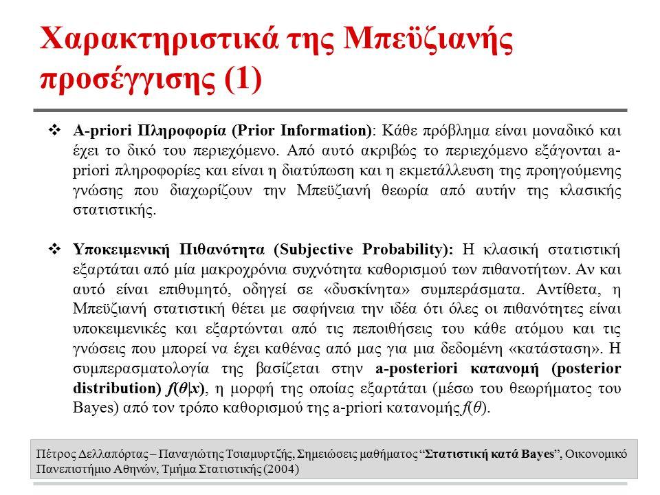 Χαρακτηριστικά της Μπεϋζιανής προσέγγισης (1) ❖ A-priori Πληροφορία (Prior Information): Κάθε πρόβλημα είναι μοναδικό και έχει το δικό του περιεχόμενο.