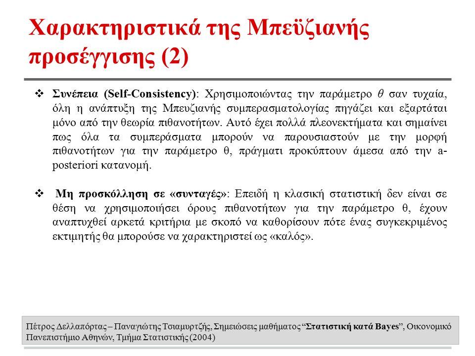 Χαρακτηριστικά της Μπεϋζιανής προσέγγισης (2) ❖ Συνέπεια (Self-Consistency): Χρησιμοποιώντας την παράμετρο θ σαν τυχαία, όλη η ανάπτυξη της Μπευζιανής