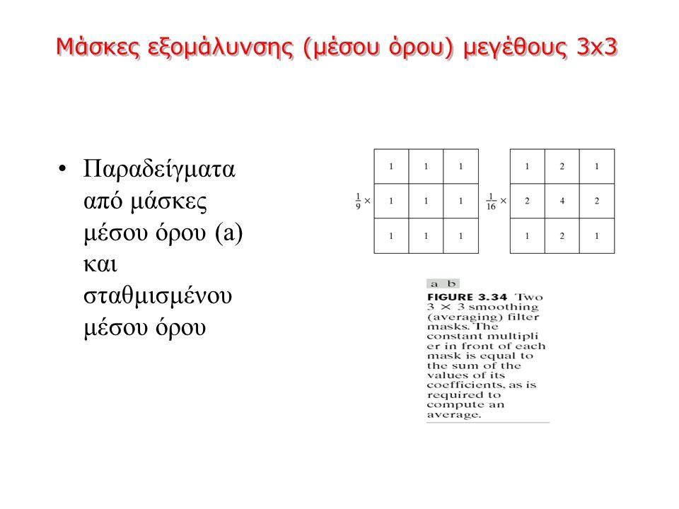 Μάσκες εξομάλυνσης (μέσου όρου) μεγέθους 3x3 Παραδείγματα από μάσκες μέσου όρου (a) και σταθμισμένου μέσου όρου