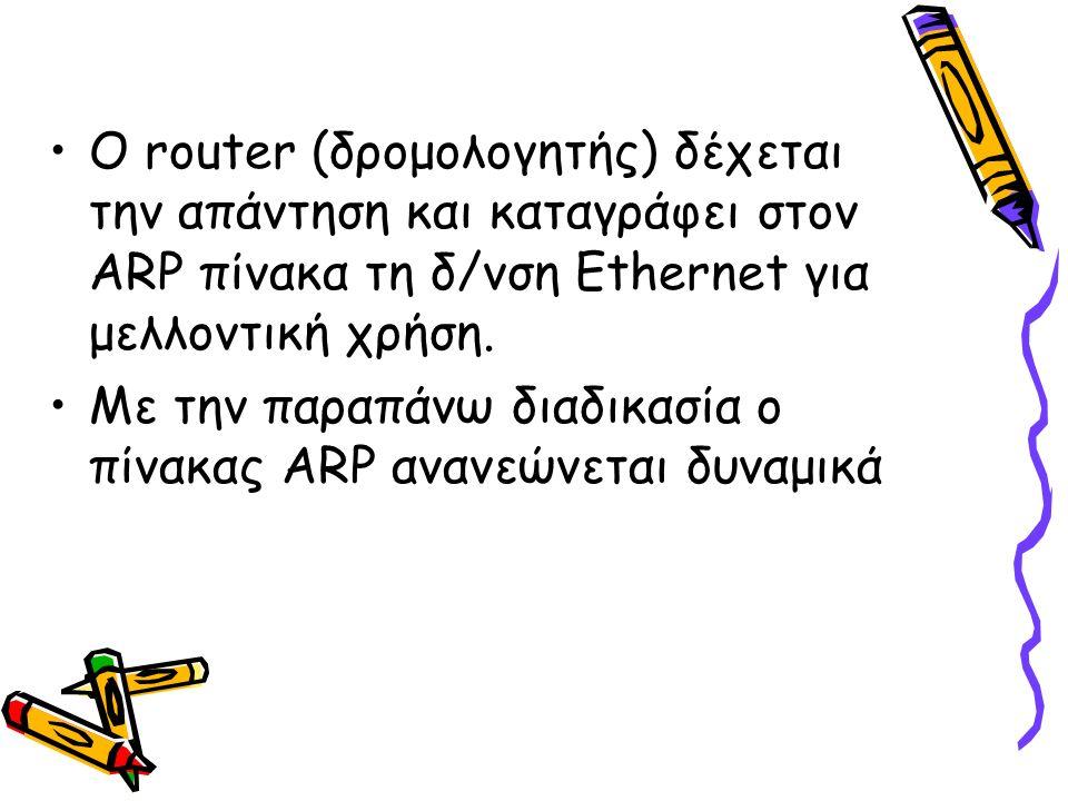 Ο router (δρομολογητής) δέχεται την απάντηση και καταγράφει στον ARP πίνακα τη δ/νση Ethernet για μελλοντική χρήση. Με την παραπάνω διαδικασία ο πίνακ