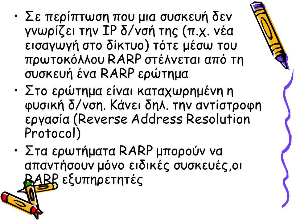 Σε περίπτωση που μια συσκευή δεν γνωρίζει την ΙΡ δ/νσή της (π.χ. νέα εισαγωγή στο δίκτυο) τότε μέσω του πρωτοκόλλου RARP στέλνεται από τη συσκευή ένα