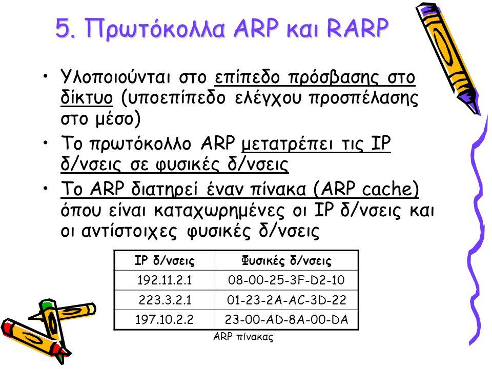 5. Πρωτόκολλα ARP και RARP Υλοποιούνται στο επίπεδο πρόσβασης στο δίκτυο (υποεπίπεδο ελέγχου προσπέλασης στο μέσο) Το πρωτόκολλο ARP μετατρέπει τις ΙΡ