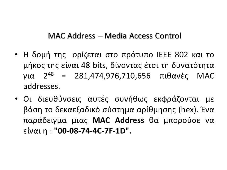 MAC Address – Media Access Control Η δομή της ορίζεται στο πρότυπο IEEE 802 και το μήκος της είναι 48 bits, δίνοντας έτσι τη δυνατότητα για 2 48 = 281,474,976,710,656 πιθανές MAC addresses.