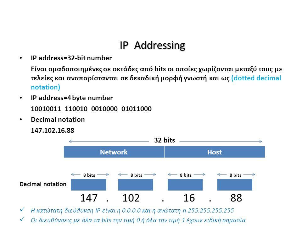 IP Addressing IP address=32-bit number Είναι ομαδοποιημένες σε οκτάδες από bits οι οποίες χωρίζονται μεταξύ τους με τελείες και αναπαρίστανται σε δεκαδική μορφή γνωστή και ως (dotted decimal notation) IP address=4 byte number 10010011 110010 0010000 01011000 Decimal notation 147.102.16.88 Decimal notation 147.