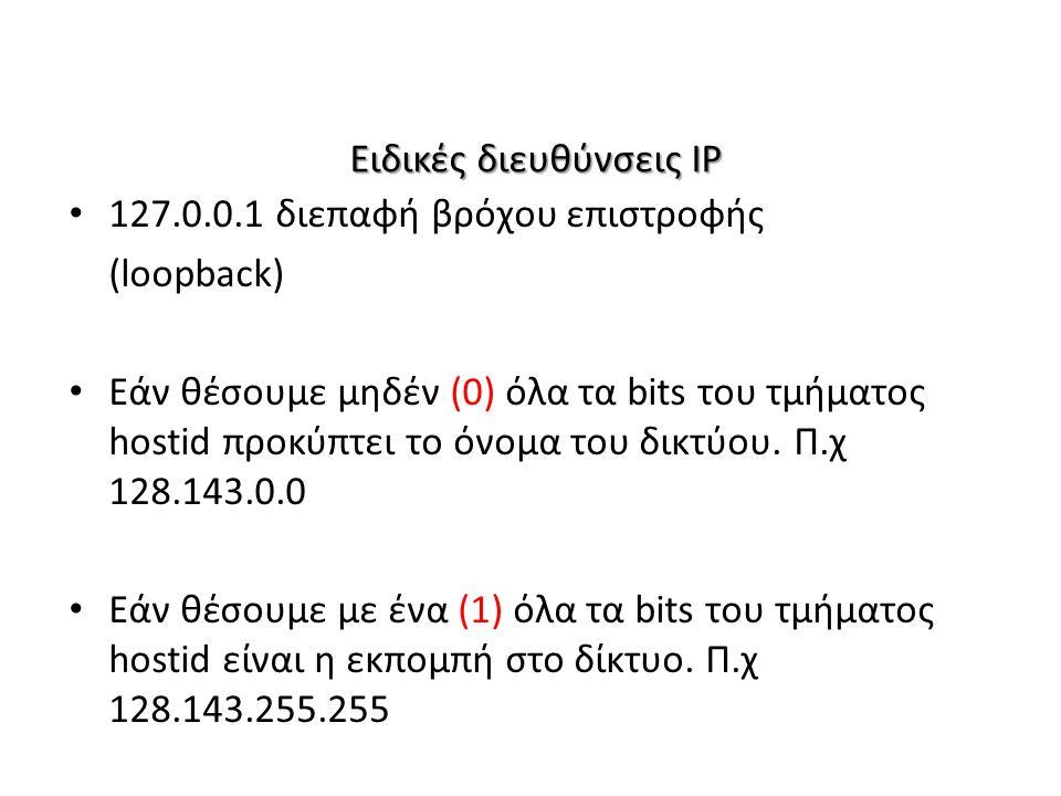 Ειδικές διευθύνσεις IP 127.0.0.1 διεπαφή βρόχου επιστροφής (loopback) Εάν θέσουμε μηδέν (0) όλα τα bits του τμήματος hostid προκύπτει το όνομα του δικτύου.