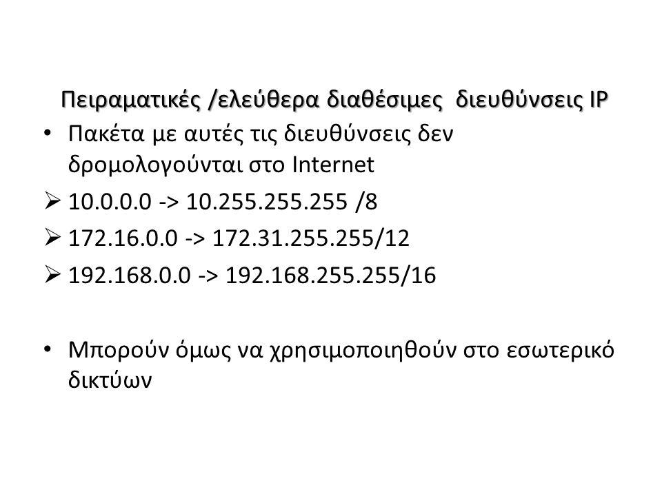 Πειραματικές /ελεύθερα διαθέσιμες διευθύνσεις IP Πακέτα με αυτές τις διευθύνσεις δεν δρομολογούνται στο Internet  10.0.0.0 -> 10.255.255.255 /8  172.16.0.0 -> 172.31.255.255/12  192.168.0.0 -> 192.168.255.255/16 Μπορούν όμως να χρησιμοποιηθούν στο εσωτερικό δικτύων