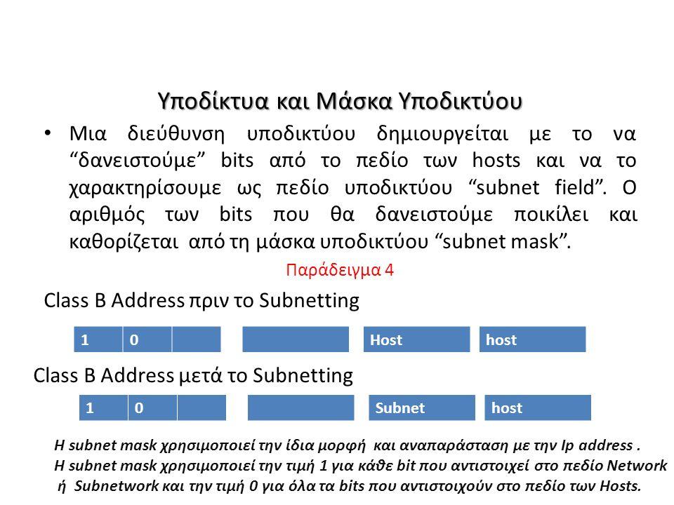 Υποδίκτυα και Μάσκα Υποδικτύου Μια διεύθυνση υποδικτύου δημιουργείται με το να δανειστούμε bits από το πεδίο των hosts και να το χαρακτηρίσουμε ως πεδίο υποδικτύου subnet field .