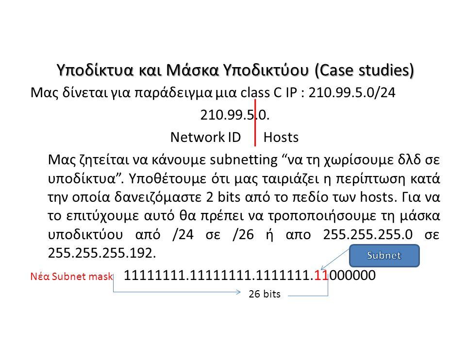 Υποδίκτυα και Μάσκα Υποδικτύου (Case studies) Μας δίνεται για παράδειγμα μια class C IP : 210.99.5.0/24 210.99.5.0. Network IDHosts Μας ζητείται να κά