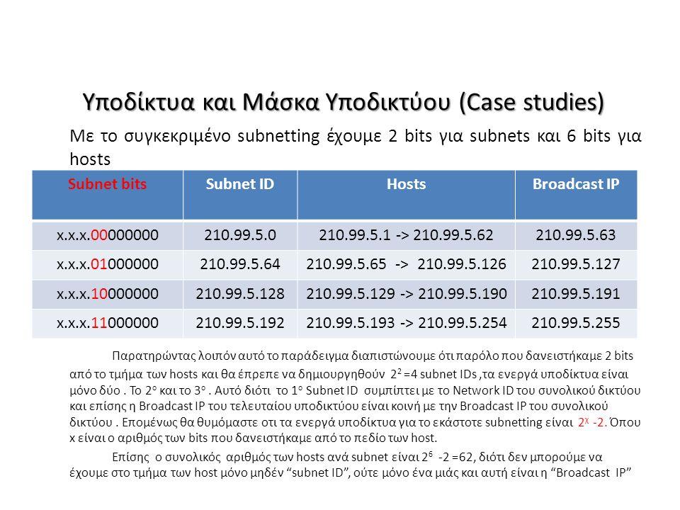 Υποδίκτυα και Μάσκα Υποδικτύου (Case studies) Με το συγκεκριμένο subnetting έχουμε 2 bits για subnets και 6 bits για hosts Παρατηρώντας λοιπόν αυτό το