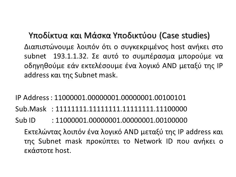 Υποδίκτυα και Μάσκα Υποδικτύου (Case studies) Διαπιστώνουμε λοιπόν ότι ο συγκεκριμένος host ανήκει στο subnet 193.1.1.32. Σε αυτό το συμπέρασμα μπορού
