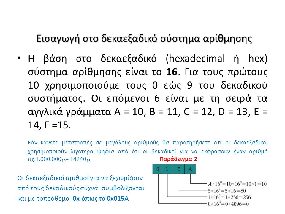 Εισαγωγή στο δεκαεξαδικό σύστημα αρίθμησης Η βάση στο δεκαεξαδικό (hexadecimal ή hex) σύστημα αρίθμησης είναι το 16. Για τους πρώτους 10 χρησιμοποιούμ
