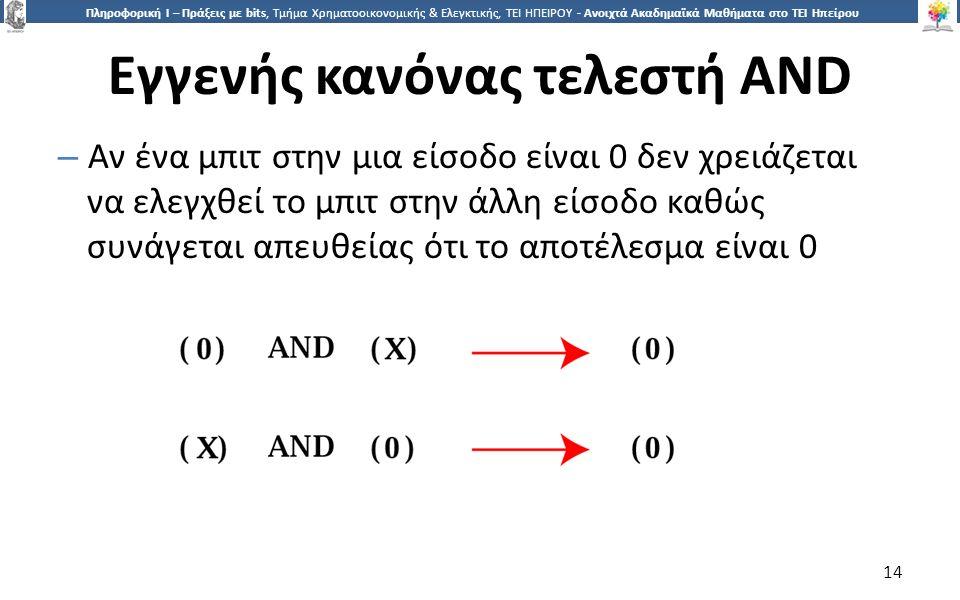 1414 Πληροφορική Ι – Πράξεις με bits, Τμήμα Χρηματοοικονομικής & Ελεγκτικής, ΤΕΙ ΗΠΕΙΡΟΥ - Ανοιχτά Ακαδημαϊκά Μαθήματα στο ΤΕΙ Ηπείρου Εγγενής κανόνας τελεστή AND – Αν ένα μπιτ στην μια είσοδο είναι 0 δεν χρειάζεται να ελεγχθεί το μπιτ στην άλλη είσοδο καθώς συνάγεται απευθείας ότι το αποτέλεσμα είναι 0 14