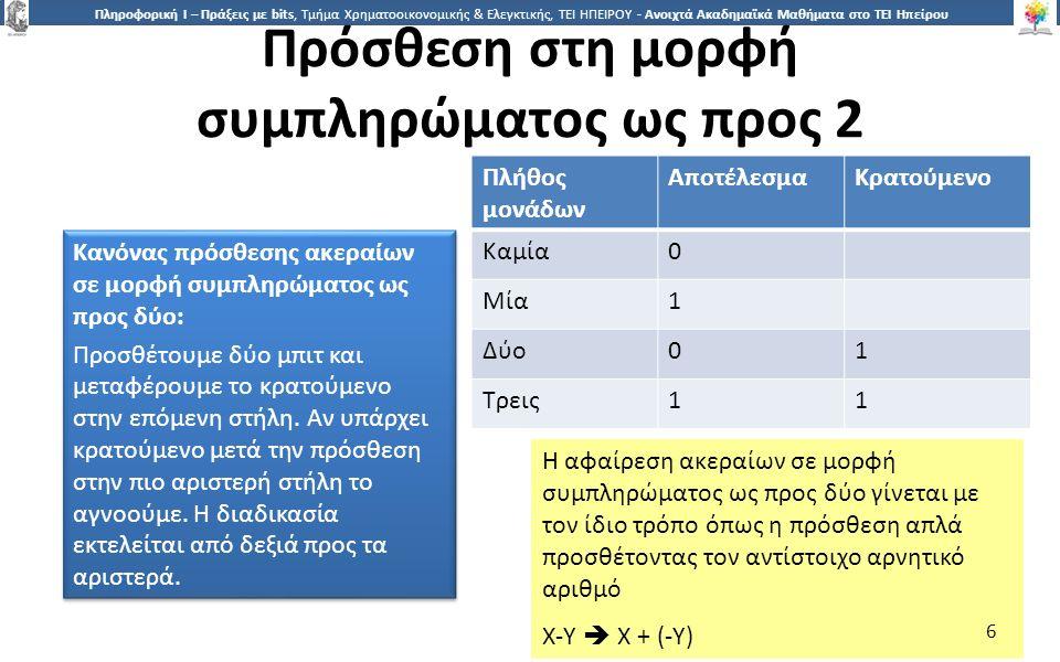 6 Πληροφορική Ι – Πράξεις με bits, Τμήμα Χρηματοοικονομικής & Ελεγκτικής, ΤΕΙ ΗΠΕΙΡΟΥ - Ανοιχτά Ακαδημαϊκά Μαθήματα στο ΤΕΙ Ηπείρου Πρόσθεση στη μορφή συμπληρώματος ως προς 2 Κανόνας πρόσθεσης ακεραίων σε μορφή συμπληρώματος ως προς δύο: Προσθέτουμε δύο μπιτ και μεταφέρουμε το κρατούμενο στην επόμενη στήλη.
