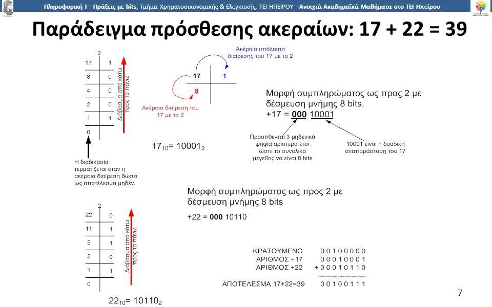 7 Πληροφορική Ι – Πράξεις με bits, Τμήμα Χρηματοοικονομικής & Ελεγκτικής, ΤΕΙ ΗΠΕΙΡΟΥ - Ανοιχτά Ακαδημαϊκά Μαθήματα στο ΤΕΙ Ηπείρου Παράδειγμα πρόσθεσης ακεραίων: 17 + 22 = 39 7