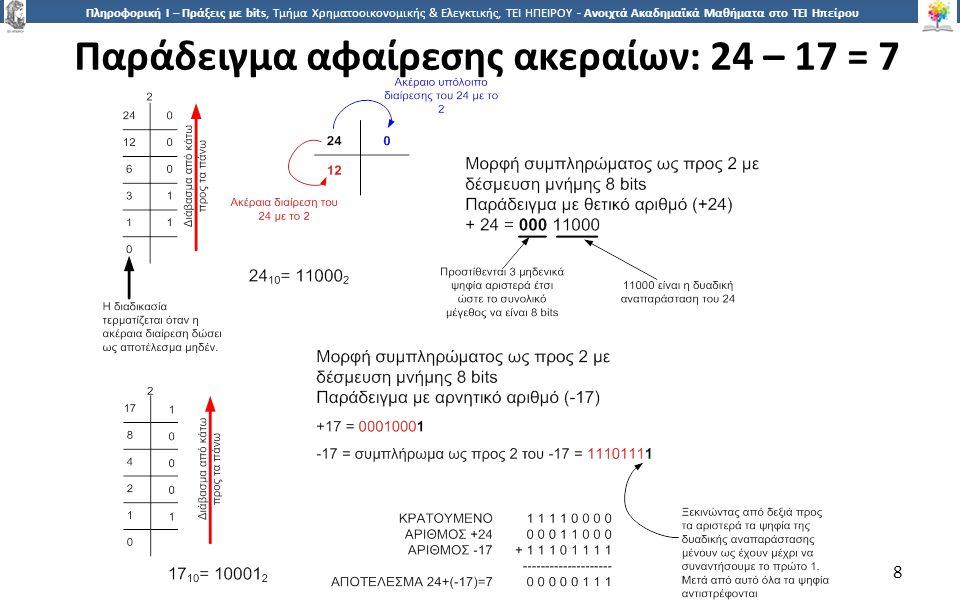 8 Πληροφορική Ι – Πράξεις με bits, Τμήμα Χρηματοοικονομικής & Ελεγκτικής, ΤΕΙ ΗΠΕΙΡΟΥ - Ανοιχτά Ακαδημαϊκά Μαθήματα στο ΤΕΙ Ηπείρου Παράδειγμα αφαίρεσης ακεραίων: 24 – 17 = 7 8