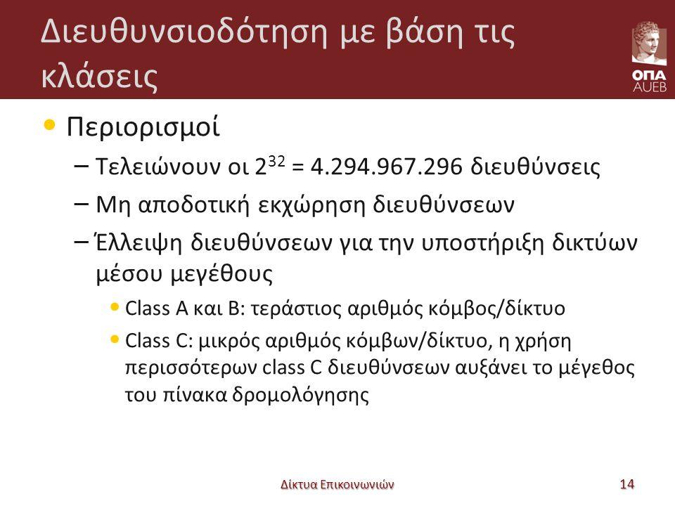 Διευθυνσιοδότηση με βάση τις κλάσεις Περιορισμοί – Τελειώνουν οι 2 32 = 4.294.967.296 διευθύνσεις – Μη αποδοτική εκχώρηση διευθύνσεων – Έλλειψη διευθύνσεων για την υποστήριξη δικτύων μέσου μεγέθους Class A και B: τεράστιος αριθμός κόμβος/δίκτυο Class C: μικρός αριθμός κόμβων/δίκτυο, η χρήση περισσότερων class C διευθύνσεων αυξάνει το μέγεθος του πίνακα δρομολόγησης Δίκτυα Επικοινωνιών 14