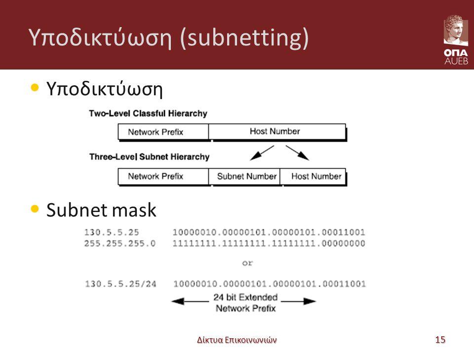 Υποδικτύωση (subnetting) Υποδικτύωση Subnet mask Δίκτυα Επικοινωνιών 15