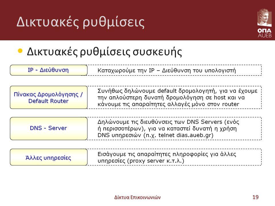 Δικτυακές ρυθμίσεις Δικτυακές ρυθμίσεις συσκευής Δίκτυα Επικοινωνιών 19