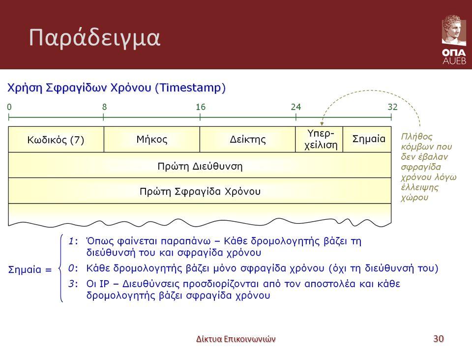 Παράδειγμα Δίκτυα Επικοινωνιών 30