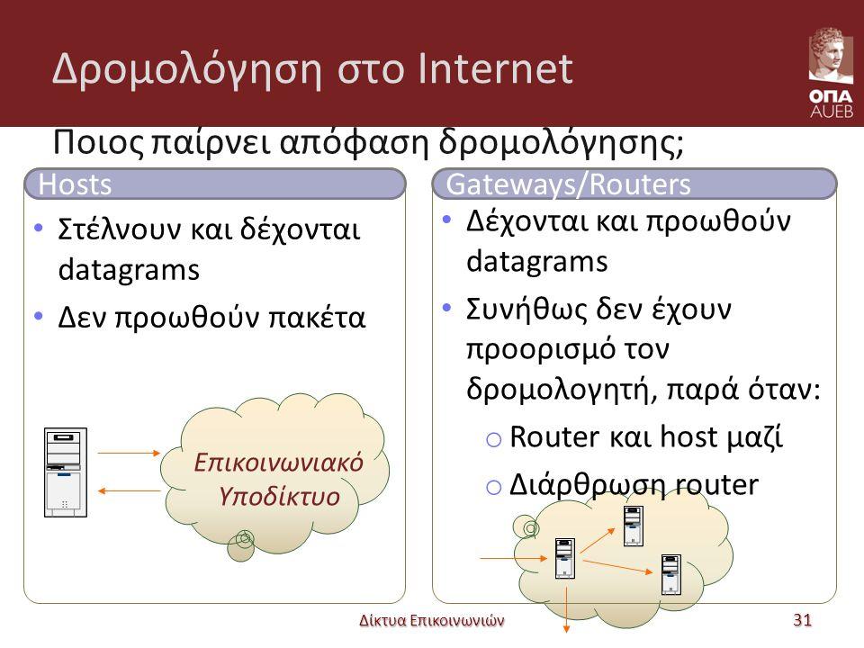 Δρομολόγηση στο Internet Ποιος παίρνει απόφαση δρομολόγησης; Δίκτυα Επικοινωνιών 31 Hosts Στέλνουν και δέχονται datagrams Δεν προωθούν πακέτα Επικοινωνιακό Υποδίκτυο Gateways/Routers Δέχονται και προωθούν datagrams Συνήθως δεν έχουν προορισμό τον δρομολογητή, παρά όταν: o Router και host μαζί o Διάρθρωση router