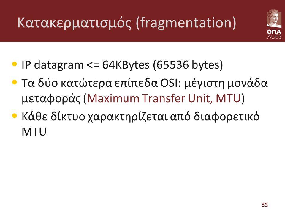 Κατακερματισμός (fragmentation) IP datagram <= 64KBytes (65536 bytes) Τα δύο κατώτερα επίπεδα OSI: μέγιστη μονάδα μεταφοράς (Maximum Transfer Unit, MTU) Κάθε δίκτυο χαρακτηρίζεται από διαφορετικό MTU 35