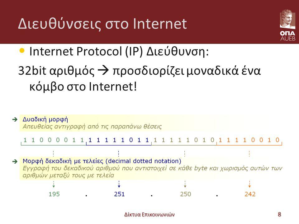 IP διευθύνσεις Network number – Host number Δίκτυα Επικοινωνιών 9