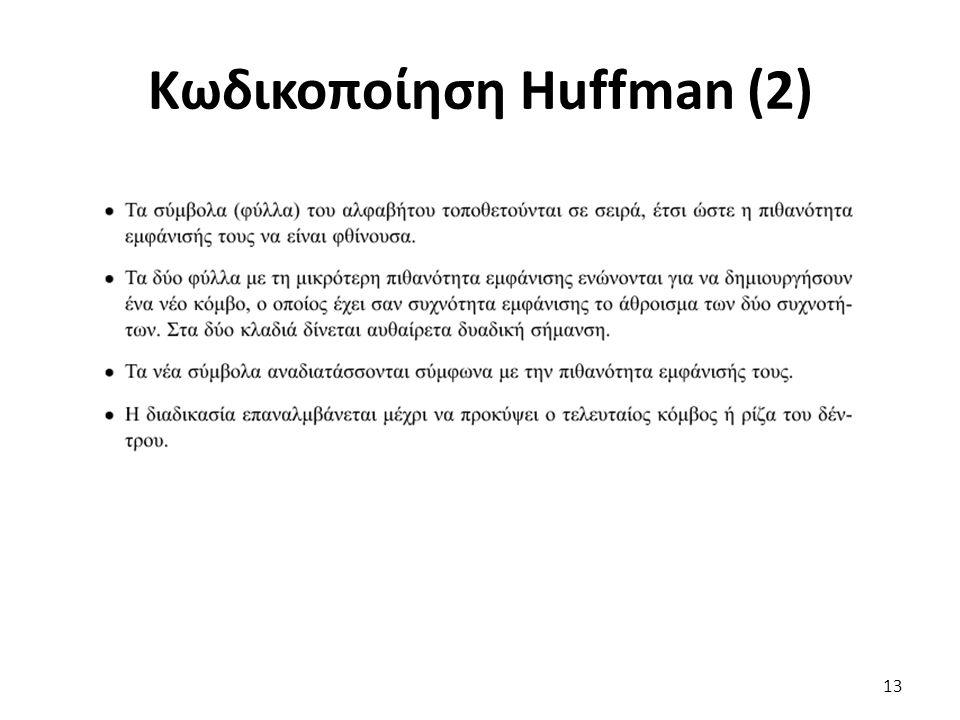 Κωδικοποίηση Huffman (2) 13