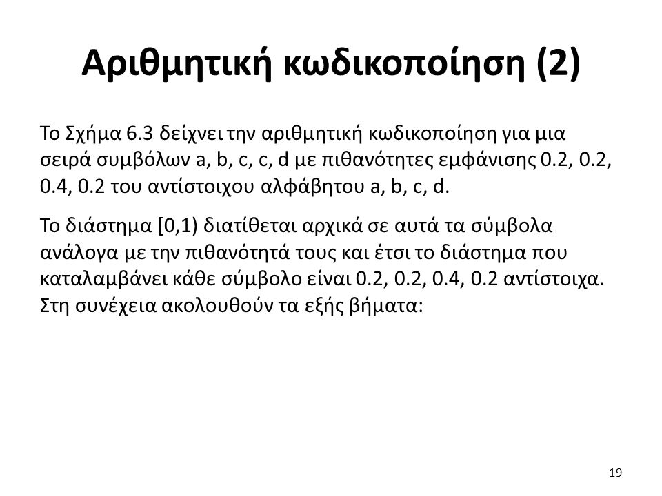 Αριθμητική κωδικοποίηση (2) Το Σχήμα 6.3 δείχνει την αριθμητική κωδικοποίηση για μια σειρά συμβόλων a, b, c, c, d με πιθανότητες εμφάνισης 0.2, 0.2, 0.4, 0.2 του αντίστοιχου αλφάβητου a, b, c, d.