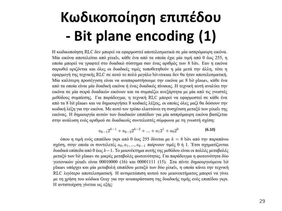 Κωδικοποίηση επιπέδου - Bit plane encoding (1) 29